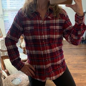 Bach's Girlfriend | plaid pearl snap flannel shirt